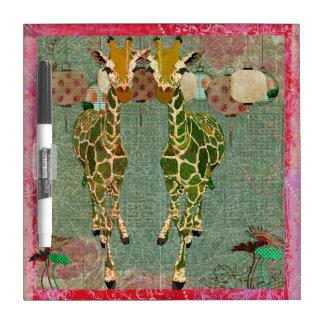 Gold Giraffes Pink Twilight Dry Erase Board