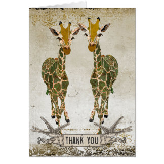 Gold Giraffes Thank You Notecard Greeting Cards