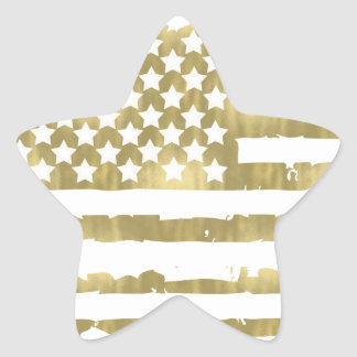 Gold Glam Abstract USA Flag Star Sticker
