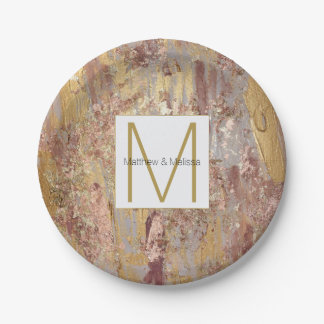 Gold Glam Abstract Wedding Monogram 7 Inch Paper Plate