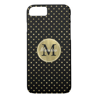 Gold Glam and Black Dots monogram iPhone 8/7 Case