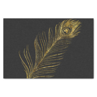 Gold Glam and Black Peacock Feather Tissue Paper