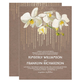 Gold Glam and White Orchids Vintage Floral Wedding 13 Cm X 18 Cm Invitation Card