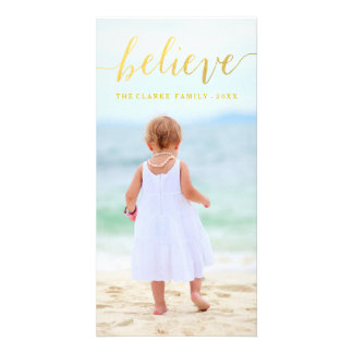 Gold Glam Believe Holiday Photo Card
