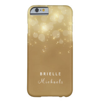 Gold Glam Bokeh Glitter Sparkle Lights With Name Barely There iPhone 6 Case