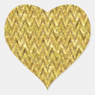 Gold Glam Chevron Heart Sticker