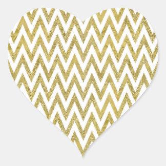 Gold Glam Chevron Stripes Heart Sticker