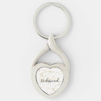 Gold Glam Confetti Bridesmaid Key Ring