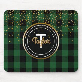 Gold Glam Confetti Dots | Monogram Buffalo Plaid Mouse Pad