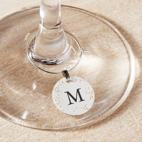 Gold Glam Confetti Dots Monogram Wine Charm
