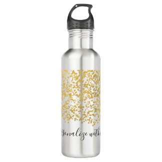 Gold Glam Confetti Personalized 710 Ml Water Bottle