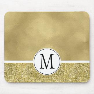 Gold Glam Faux Foil Glitter Monogram Mouse Pad