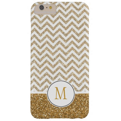 Gold Glam Faux Glitter Chevron Barely There iPhone 6 Plus Case
