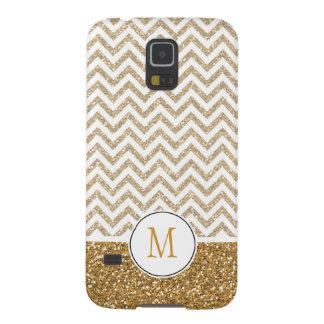 Gold Glam Faux Glitter Chevron Galaxy S5 Case