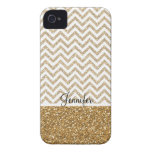 Gold Glam Faux Glitter Chevron iPhone 4 Cases