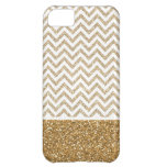 Gold Glam Faux Glitter Chevron iPhone 5C Cover