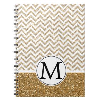 Gold Glam Faux Glitter Chevron Notebooks