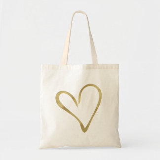 Gold Glam Heart Tote Bag