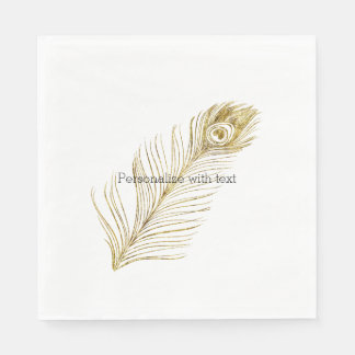 Gold Glam Peacock Feather Disposable Napkin