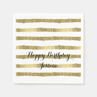 Gold Glam Stripes Paper Serviettes