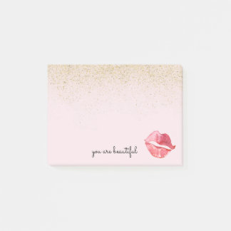 Gold Glam Watercolor Kiss You are Beautiful Post-it Notes