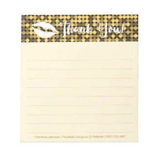 Gold Glam with Lips Personalized Notepad