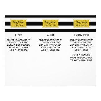 Gold Glamor Black Stripes Salon Menu Brochure