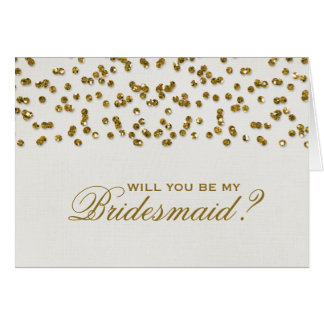 Gold Glamour Glitter Confetti Be My Bridesmaid Note Card