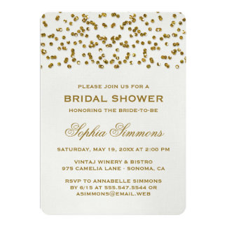 Gold Glamour Glitter Confetti Bridal Shower 13 Cm X 18 Cm Invitation Card