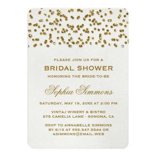 Gold Glamour Glitter Confetti Bridal Shower 13 Cm X 18 Cm Invitation Card