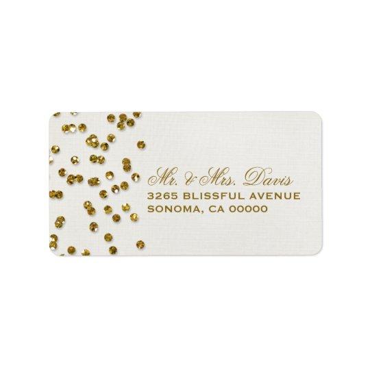 Gold Glamour Glitter Confetti Labels