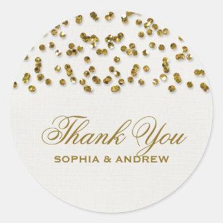 Gold Glamour Glitter Confetti Thank You Sticker