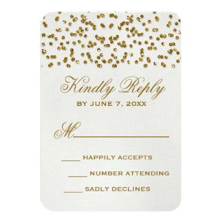 Gold Glamour Glitter Confetti Wedding RSVP Card 9 Cm X 13 Cm Invitation Card