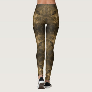 Gold Glass Antique Style Handsome Textural Pattern Leggings