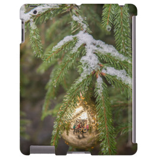 Gold Glass Christmas Ornament On Evergreen Tree