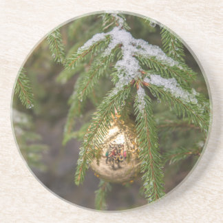 Gold Glass Christmas Ornament On Evergreen Tree Drink Coasters