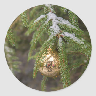 Gold Glass Christmas Ornament On Evergreen Tree Round Sticker