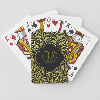 Gold Glass Ferns Monogram Poker Deck