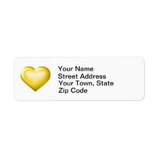 Gold glass heart return address label