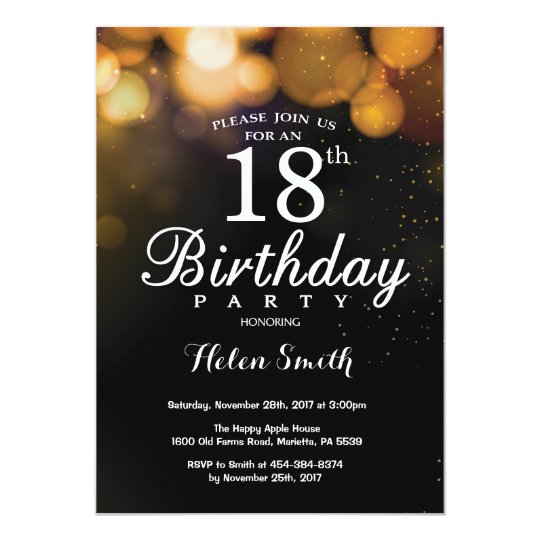 Gold Glitter 18th Birthday Invitation Card