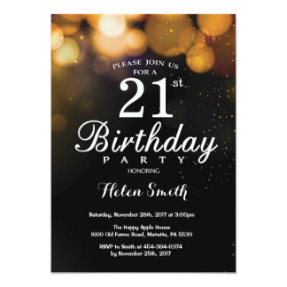 Gold Glitter 21st Birthday Invitation Card