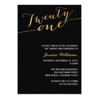 Gold Glitter 21st Birthday Party 13 Cm X 18 Cm Invitation Card