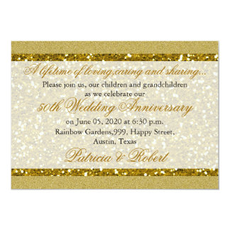 Gold Glitter 50th Golden Wedding Anniversary Card