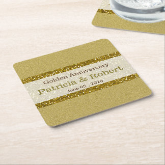 Gold Glitter 50th Golden Wedding Anniversary Square Paper Coaster