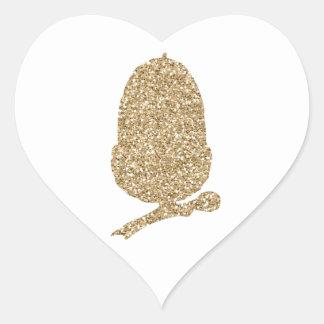 Gold Glitter Acorn Heart Sticker
