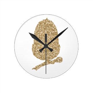 Gold Glitter Acorn Round Clock