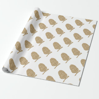 Gold Glitter Acorn Wrapping Paper