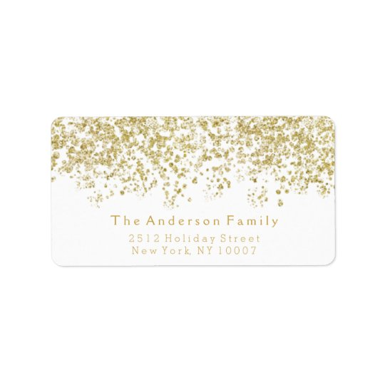 Gold glitter address label