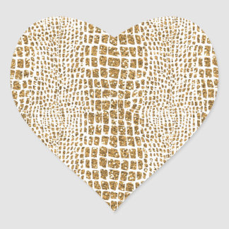 Gold Glitter Alligator Print Heart Sticker