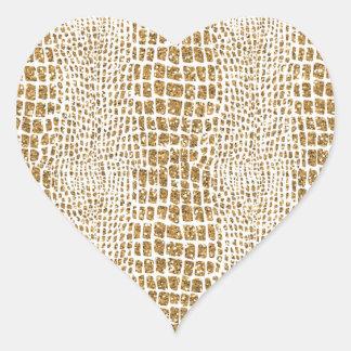 Gold Glitter Alligator Print Heart Sticker
